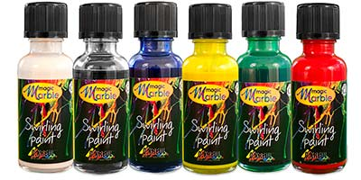 Primary Colors Swirling Paint Box Set: Set of six 1 oz bottles of marbleizing paint. Contains one each of red, blue, green, sun yellow, white and black.